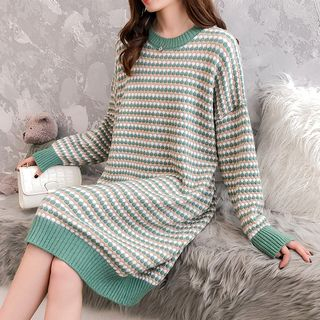 Image of Patterned Sweater Dress