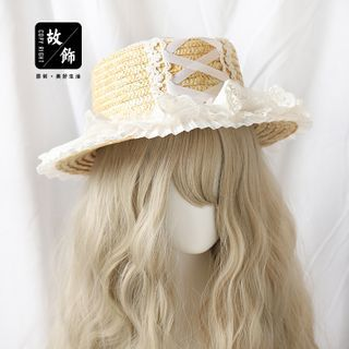 Straw | White | Lace | Size | Sun | Hat | One