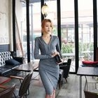Wrap-Front Shirred Sheath Dress 1596
