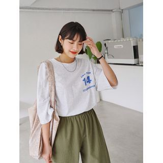 Image of 14 Letter-Printed Boxy T-Shirt