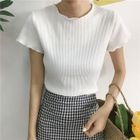 Short-Sleeve Rib Knit Top 1596