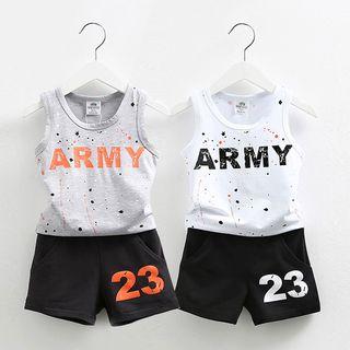 Kids Set: Lettering Tank Top + Shorts 1051536575