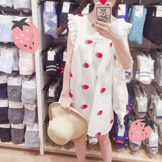 Strawberry | Sleeveless | White | Dress | Mini | Size | Red | One