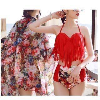 Set: Tassel Bikini Top + High Waist Bikini Bottom + Cover-Up 1050236789