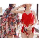 Set: Tassel Bikini Top + High Waist Bikini Bottom + Cover-Up 1596