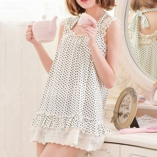 Dotted Lace Sleeveless Top 1060005884