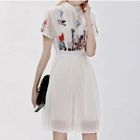Embroidered Mandarin Collar Short Sleeve Pleated Hem Dress 1596