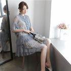 Set: Plain Slipdress + Lace Elbow-Sleeve Dress 1596