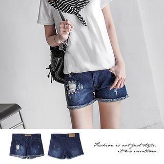 Studded Distressed Washed Denim Shorts 1052804129