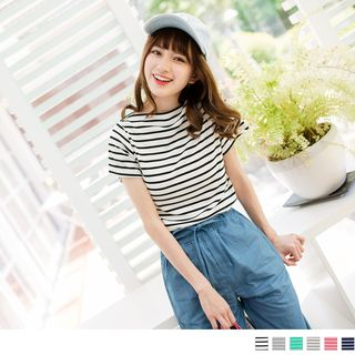 Striped Short-Sleeve Boat Neck T-Shirt 1052804151