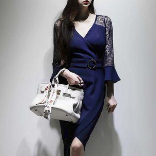 Image of 3/4-Sleeve Lace Panel Sheath Dress