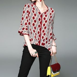 V-neck Bell-Sleeve Print T-shirt 1058389306