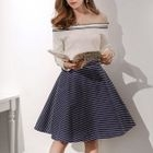 Set: Knit Top + Striped A-Line Skirt 1596