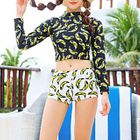 Set: Banana Print Cropped Rashguard + Swim Bottom 1596