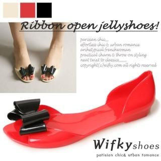 Picture of Wifky Bow Open-Toe Jelly Flats 1022967426 (Flat Shoes, Wifky Shoes, Korea Shoes, Womens Shoes, Womens Flat Shoes)