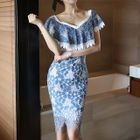 Ruffled Lace Sheath Dress 1596