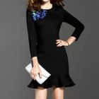Sequined Cut Out Detail 3/4 Sleeve Dress 1596