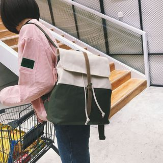 Belted Two Tone Canvas Backpack