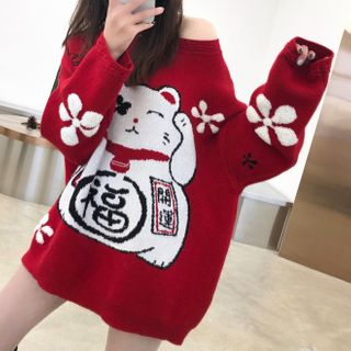 Image of Lucky Cat Print Sweater Red - One Size