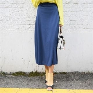 Band-Waist Ribbed Long Skirt 1052889995