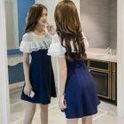 Short-Sleeve Ruffle Panel A-line Dress 1596