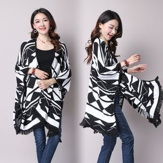 Patterned Knit Poncho 1052897677