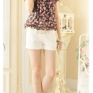 Buy Tokyo Fashion Cuffed Shorts with Woven Belt 1023027523