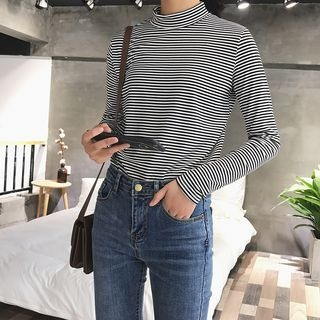 Mock-Neck Striped Long-Sleeve T-Shirt 1062762483