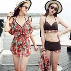 Set: Halter Bikini + Floral Print Cover-Up 1596