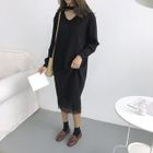 V-Neck Midi Knit Dress 1596
