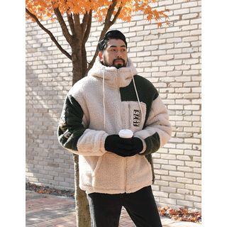 Hooded Two-tone Sherpa-fleece Jacket