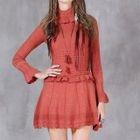 Long-Sleeve High Neck Ruffle Dress 1596
