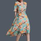 Floral Print Elbow Sleeve Midi Chiffon Dress 1596