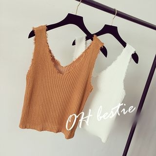 V-neck Ribbed Knit Tank Top 1061598151