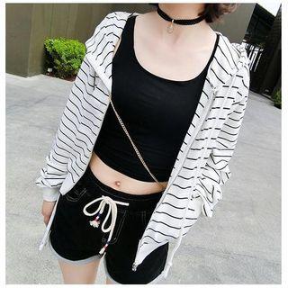 Striped Zip Hoodie 1049842567