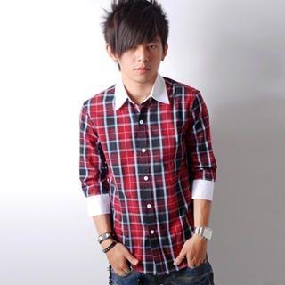 Buy SLOWTOWN Contrast-Trim Plaid Shirt 1023009320