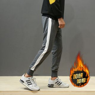 Contrast-Trim Fleece-Lined Sweatpants