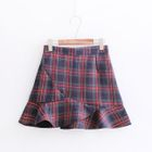 Ruffle Hem Plaid Mini Skirt 1596