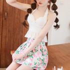 Set: Frilled Trim Swim Top + Floral Swim Bottom + Skirt 1596