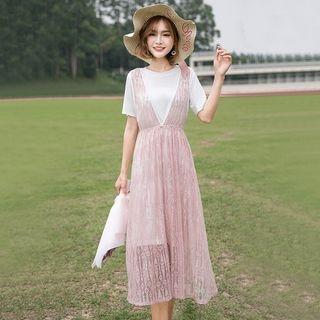 Set: Short-Sleeve Long T-Shirt + Lace Midi Pinafore Dress 1066904524