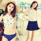 Set: Printed Tankini + Top + Skirt 1596