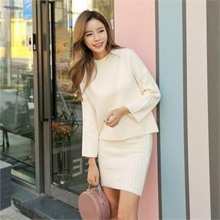 Set: Bell-Sleeve Knit Top + Spaghetti-Strap Ribbed Dress 1063229657