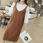 Ribbed Pinafore Dress 1596
