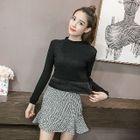 Long-Sleeve Fleece-Lined Knit Top 1596