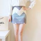 Set: Plain Shirt + Chevron A-Line Skirt 1596
