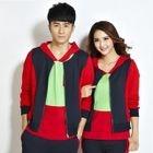 Set: Short-Sleeve Color-Block Couple Matching T-Shirt + Zip Jacket + Sweatpants 1596