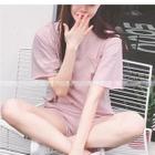Set : Plain Short-Sleeve Top + Shorts 1596