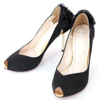 Picture of AKA Rosette Back Metallic Heel Satin Pumps 1022028961 (Pump Shoes, AKA Shoes, Korea Shoes, Womens Shoes, Womens Pump Shoes)