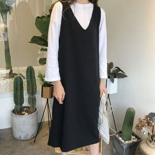 Long-Sleeve T-Shirt / Pinafore Midi Dress 1062795455