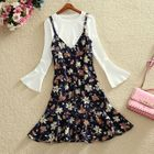 Plain Long-Sleeve Top / Floral Print Strappy Dress / Set: Plain Long-Sleeve Top + Floral Print Strappy Dress 1596